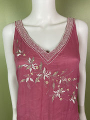 Pink Silk Beaded Sequin Tank Top