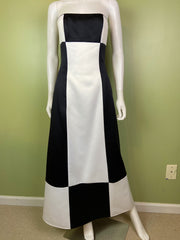 Vintage Satin Black White Checkerboard Tuxedo Gown