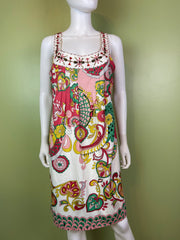 Nicole Miller Bejeweled Graphic Pink Green Silky Sheath Dress