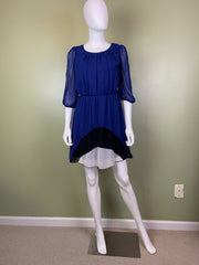 Mod Blue Silky Layered Black & White Dress