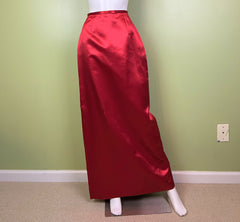 Long Red Satin Tuxedo Column Skirt