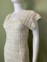 Vintage Bespoke Hand Knit Cream White Lace Crochet Gown