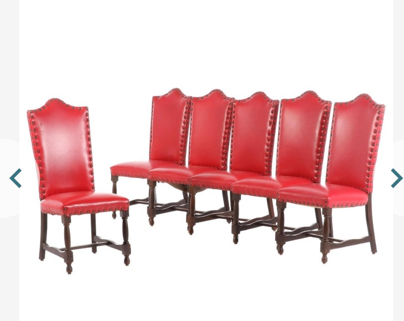 Italian Red Leather Walnut Dining Side Chairs - Set of 6