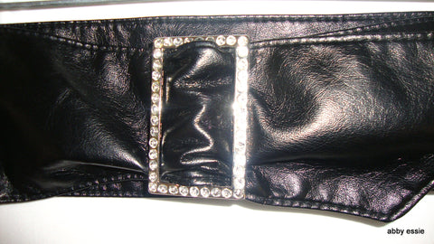 sexy vintage RHINESTONE BUCKLE WIDE BLACK LEATHER BELT SIZE S/M LENGTH 17""