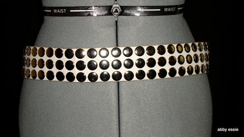 STUDDED WHITE LEATHER MOTO ROCK STAR SNAP CLOSURE BELT