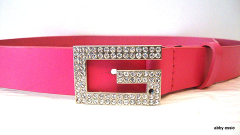GUESS BLING RHINESTONE HOT PINK LEATHER BELT