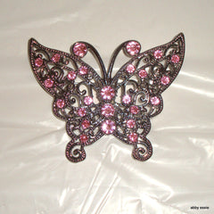 LARGE STERLING SILVER STYLE PINK RHINESTONE BLING BUTTERFLY PIN 6 X 5 CM