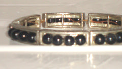 STERLING SILVER STYLE BLACK BEAD INLAY STRETCH BRACELET UNISEX LENGTH