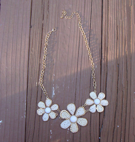 SOLD - Art Deco Gold Pearl Daisy Flower Choker Necklace
