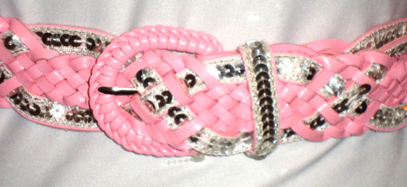 sexy cute PINK & SEQUIN BRAIDED FAUX LEATHER BELT