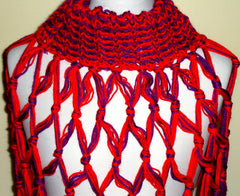 GORGEOUS *** HIGH FASHION RED & PURPLE KNIT SHAWL  SCARF
