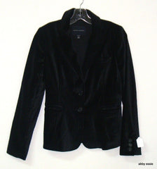 Black Velvet Banana Republic White Pin-Striped Rocker Goth Blazer 2 Xs