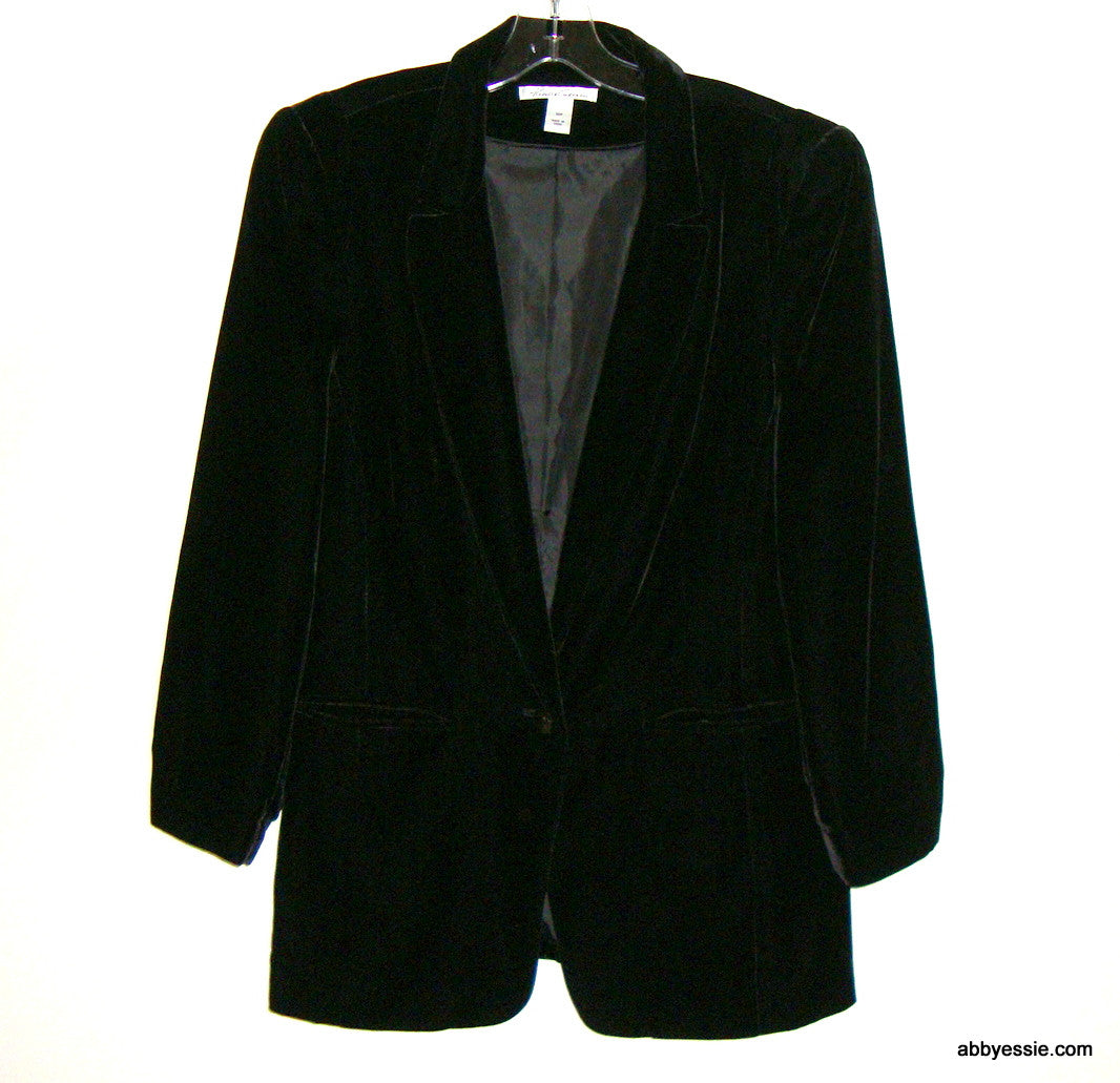 NEW KENNETH COLE BLACK VELVET CAREER GOTH VICTORIAN BLAZER LARGE 12 PETITE LINED