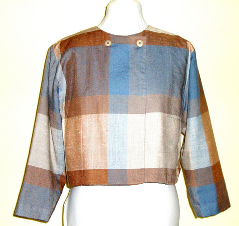 Vtg Prophecy Blue And Beige Plaid 40s 50s 60s ¾ Jacket Pockets