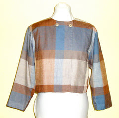 VTG PROPHECY BLUE AND BEIGE PLAID 40S 50S 60S ¾ JACKET POCKETS SMALL VTG MEDIUM