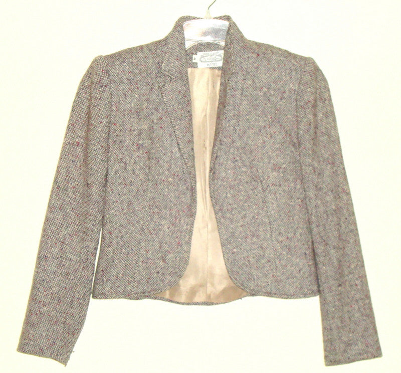 VTG THE VILLAGER PETITES CLASSIC BROWN WOOL TWEED RIDING BLAZER 4 SMALL LIKE 0 2
