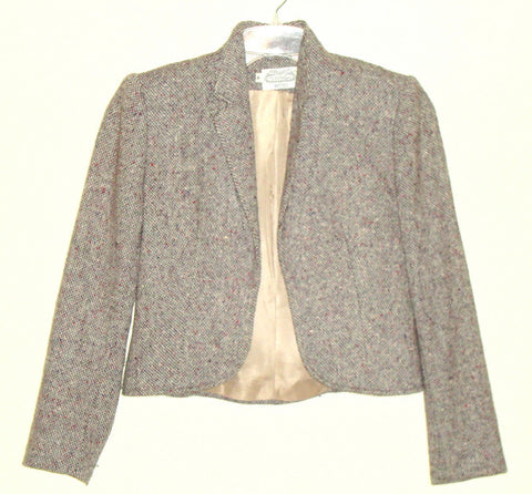 Vtg The Villager Petites Classic Brown Wool Tweed Riding Blazer