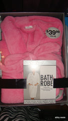 NEW PINK VELOUR TERR BATHROBE LARGE