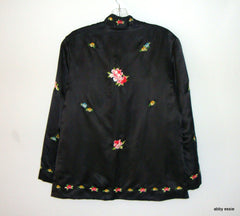 Vintage Embroidered Black Silk Satin Floral Birds Cocktail Jacket