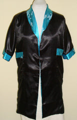 VINTAGE REVERSIBLE TURQUOISE BLACK SMOKING JACKET ROBE EMBROIDERED DRAGON XL