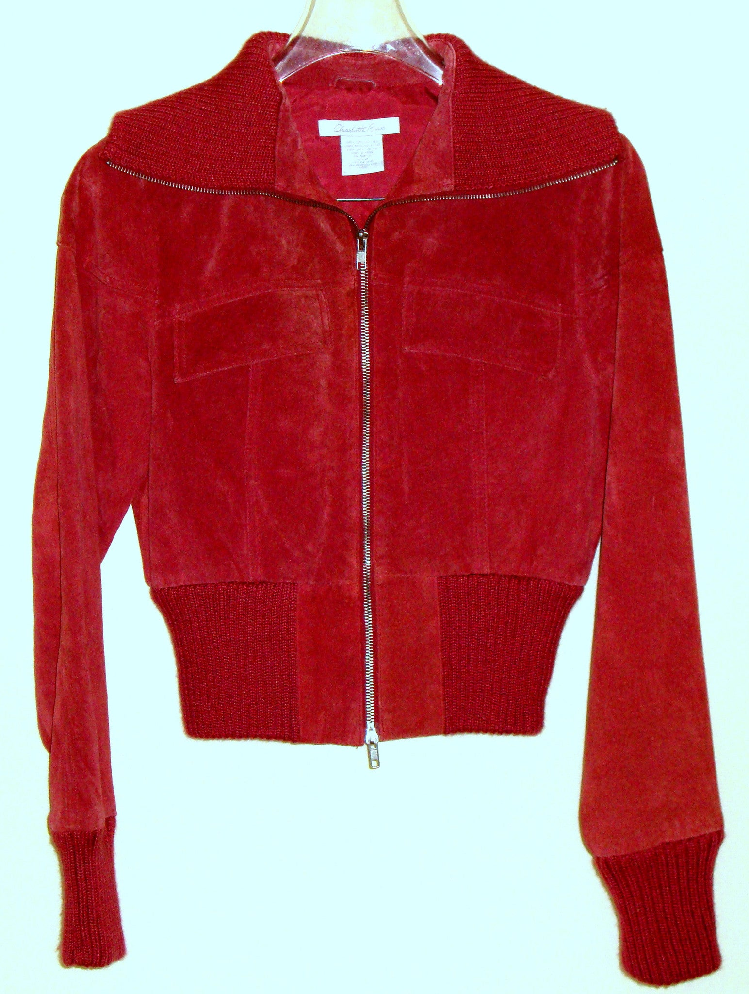 CHARLOTTE RUSSE MAUVE RED SUEDE ZIP FRONT JACKET KNIT COLLAR CUFFS MEDIUM