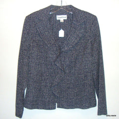 DANNY & NICOLE TWEED ANTIQUED NAVY BLUE  WHITE BLAZER RUFFLE BLAZER MEDIUM 8