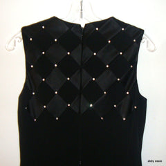 Niteline Long Black Sleeveless Tank Dress Gown W/ Rhinestone & Satin Detail Sz 4
