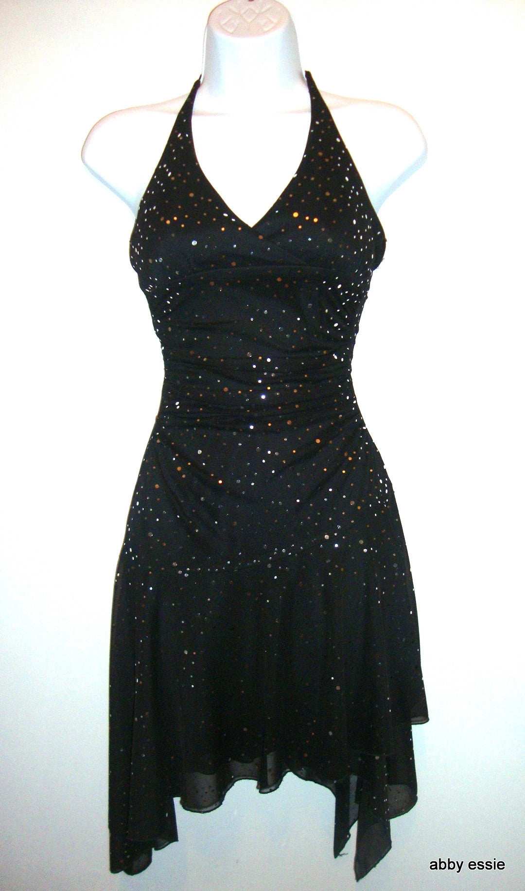 CITY TRIANGLES BLACK HALTER STRETCH DRESS SILVER DOTS DASHES JUNIOR DRESS SMALL