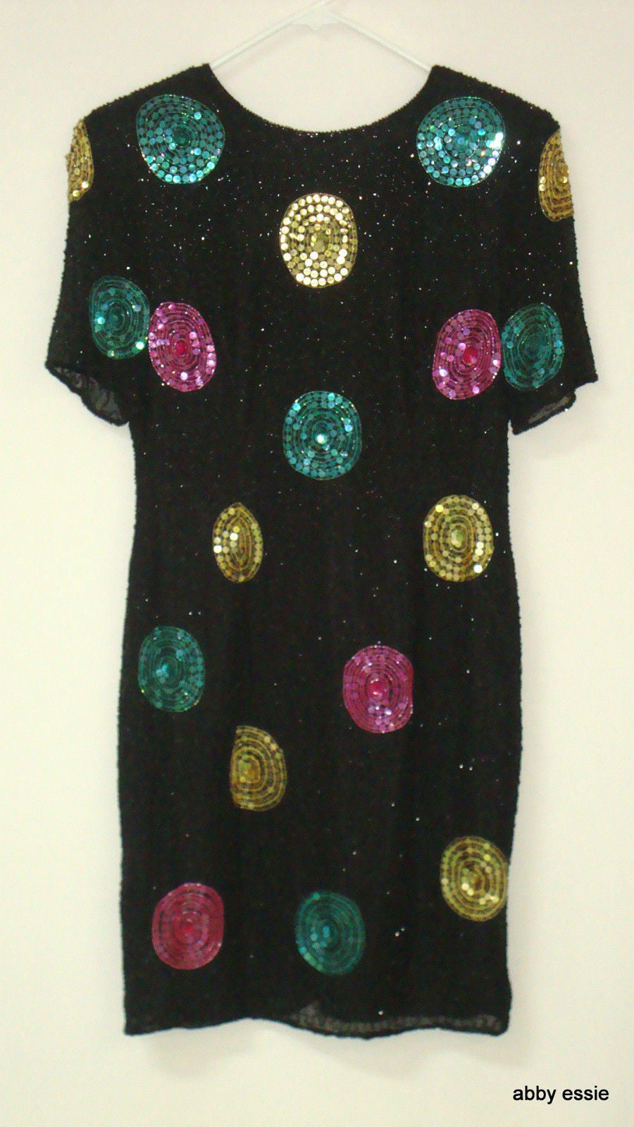 VINTAGE EVE'S ALLURE BLACK SEQUIN SILK TROPHY DECO GATSBY DRESS SMALL LD-1326
