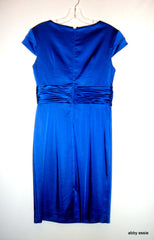 CHETTA B ROYAL BLUE SATIN COCKTAIL WIGGLE WEDDING STRETCH SEQUIN PLEATED DRESS 6