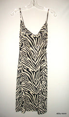 BLACK WHITE ZEBRA PRINT SEQUIN STRETCH COCKTAIL CLUB DRESS SMALL