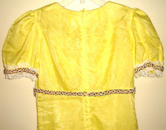 VINTAGE  1970s YELLOW SHEER GAME OF THRONES JEWELED FAIRY GOTH GOWN SMALL