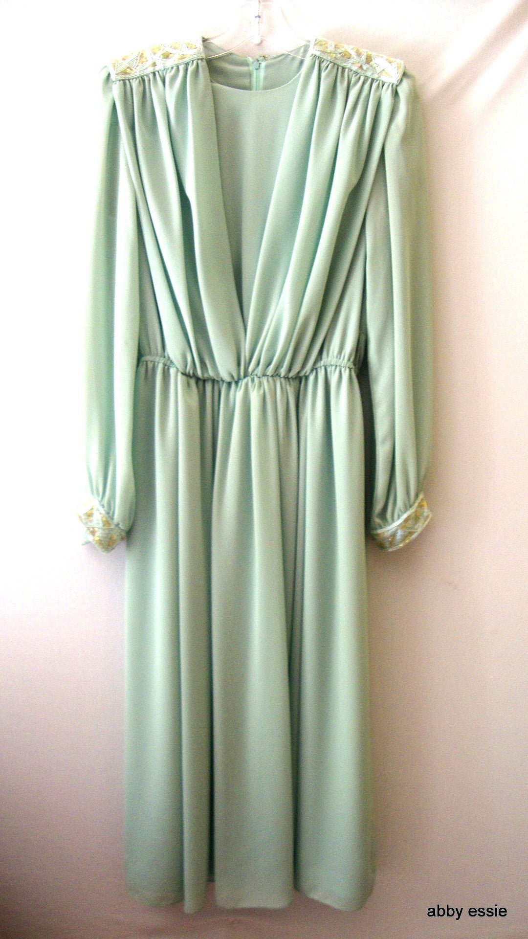 [sold] VTG JACK BRYAN LIGHT GREEN CHIFFON DRAPED DRESS W/ SEQUINED BEADED 10