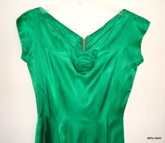 Green Silk 1950s Vintage Party Dress Rosettes