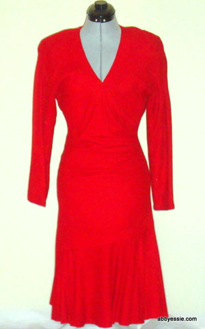 GORGEOUS VINTAGE VAKKO RED SOFT SUEDE LEATHER COCKTAIL DRESS 8 MEDIUM 6 8 10