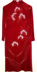 VINTAGE DUC TAI RED VELVET PAINTED LEAF DRESS SIDE SLITS SMALL