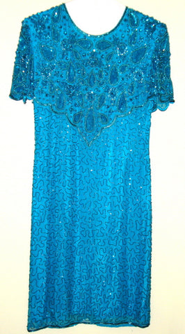 [VINTAGE] AMERICAN NIGHTS – TURQUOISE BEADED, SEQUINED FORMAL DRESS SZ S 6-8 ?