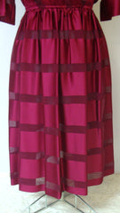 Vintage SWEET TALK RED BURGUNDY SILK STRIPED SHEER FULL SKIRT COCKTAIL DRESS SMALL 5 6