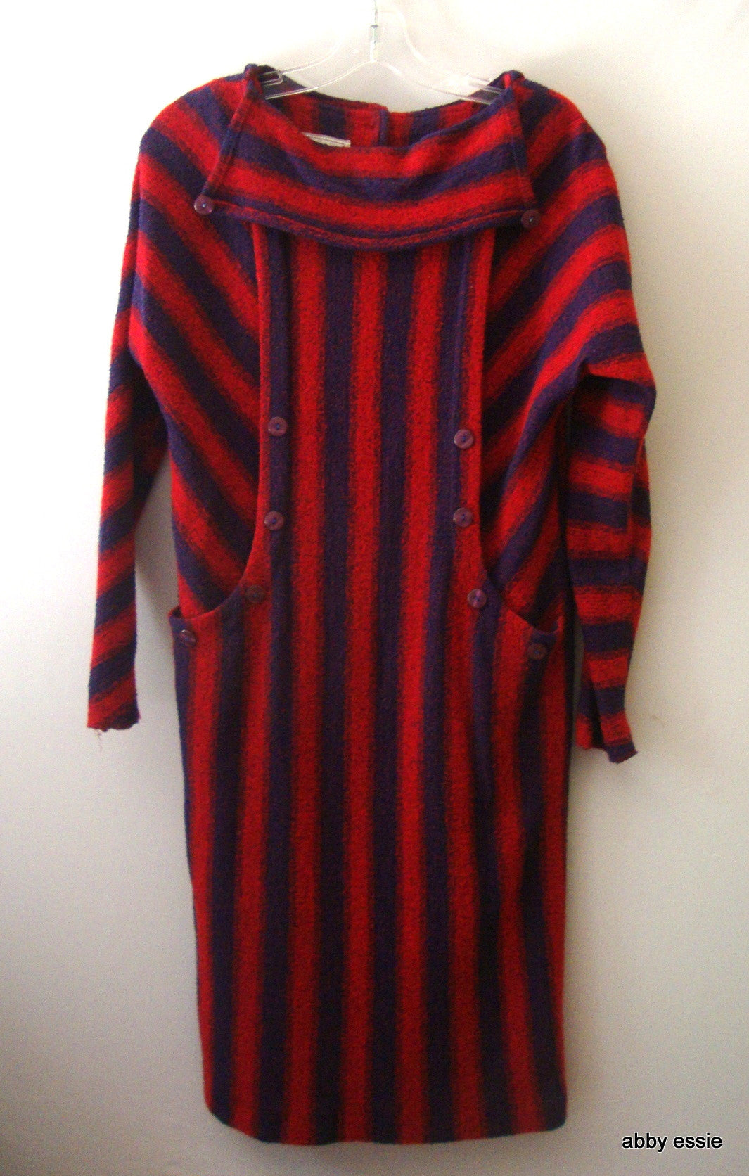 RARE Antique Vintage BEAUTE RED BLUE STRIPED WOOL KNIT PEASANT FESTIVAL DRESS  7 SMALL