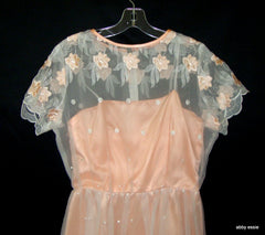 VINTAGE PINK PEACH SATIN SHEER EMBROIDERED FLORAL LACE DRESS GOWN LD-2327