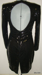 VINTAGE BLACK SEQUIN STRETCH OPEN BACK WIGGLE COCKTAIL DRESS 10 MEDIUM LD-2428