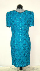 Vintage Stenay Blue Turquoise Sequin Silk Trophy Cocktail Dress