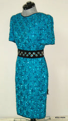 VINTAGE STENAY BLUE TURQUOISE SEQUIN SILK TROPHY COCKTAIL DRESS 10 MEDIUM LD-2569