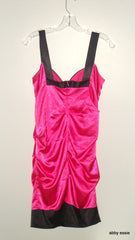 SPEECHLESS HOT PINK SATIN STRETCH RUCHE DRESS JUNIOR 5 like SMALL 4