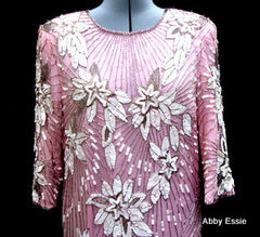Rare Vintage Nina Couture Light Pink Sequined & Beaded Silk Deco Great Gatsby Flapper Gown Sz Medium
