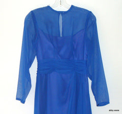 VINTAGE ALYCE DESIGNS BLUE 50S 60S 70S STYLE SHEER DRESS SZ 8 LD-2722