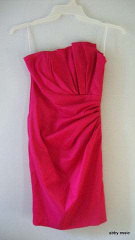 VINTAGE CINDY'S FUSCHIA PINK ASYMETRICAL COCKTAIL PROM DRESS XS 2 4 LD-2746