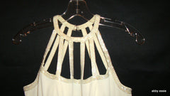 Vintage Cream White Beaded Silk Cage Formal Prom Gown