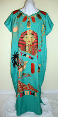 Vintage Turquoise Gold King Tut Sheath Dress Caftan