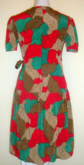 Vintage Tan Brown Green Short Sleeve 80s Foliage Wrap Dress